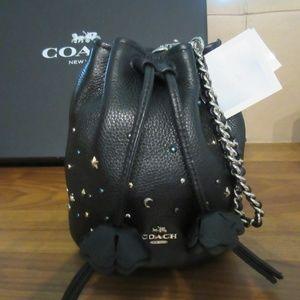 NWOT Coach Mini Drawstring Pouch Bag w/ Chain Link